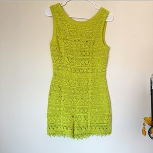 Topshop Lime Green Floral Lace Romper